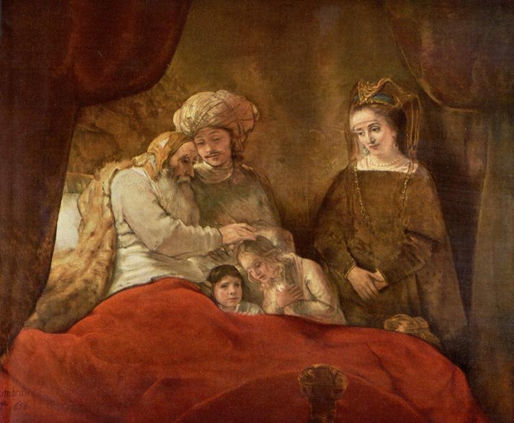 Rembrandt Harmensz van Rijn: Jákob megáldja József fiait, 1656